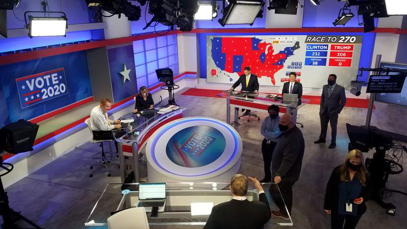 WJXT's Studio B was transformed into Election Central. This shot snapped during our final rehearsal Monday afternoon.