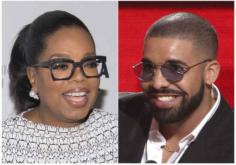 """This combination photo shows Oprah Winfrey at The Museum of Modern Art's David Rockefeller Award Luncheon honoring Oprah Winfrey  in New York on March 6, 2018, left, and Drake accepting the award for favorite album rap/hip-hop for """"Views"""" at the American Music Awards in Los Angeles on Nov. 20, 2016. Lil Yachty, DaBaby and Drake's new rap song Oprah's Bank Account"""" is one of Oprah's favorite things. When asked in an interview what she thought of the song, Winfrey exclaimed I love it. I love it. I loveeeeee it! Yes, I love it!"""" (Photos by Charles Sykes, left, and Matt Sayles/Invision/AP)"""
