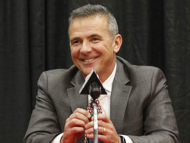 FILE - Then-Ohio State head coach Urban Meyer answers questions during a news conference in Columbus, Ohio, Tuesday, Dec. 4, 2018. Free agency feels a lot like recruiting to new Jaguars coach Urban Meyer. Watching film. Wooing players. Finding the right fits. Given Meyers penchant for landing five-star prospects at Florida and Ohio State, Jacksonville could be a popular landing spot for some of the NFLs top free agents next week. It certainly should help that the Jaguars have more salary cap space (nearly $73 million) than any other team.(AP Photo/Jay LaPrete, File)