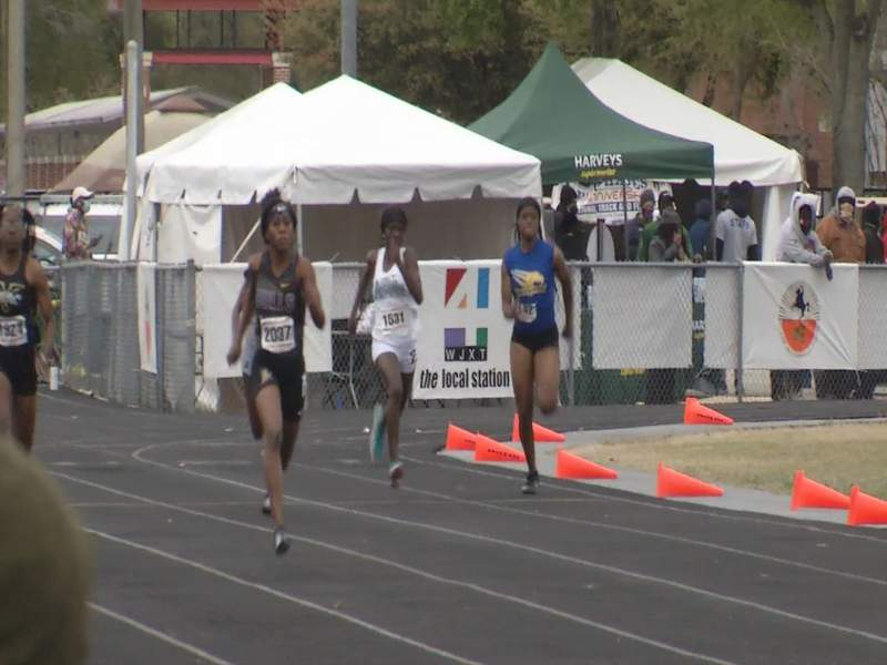 Runners compete on Saturday at the Bob Hayes track and field meet at Raines.