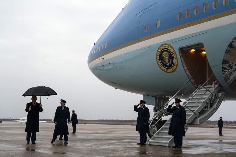 President Donald Trump boards Air Force One to travel to a campaign rally in Manchester, N.H., Monday, Feb. 10, 2020, at Andrews Air Force Base, Md. (AP Photo/Evan Vucci)