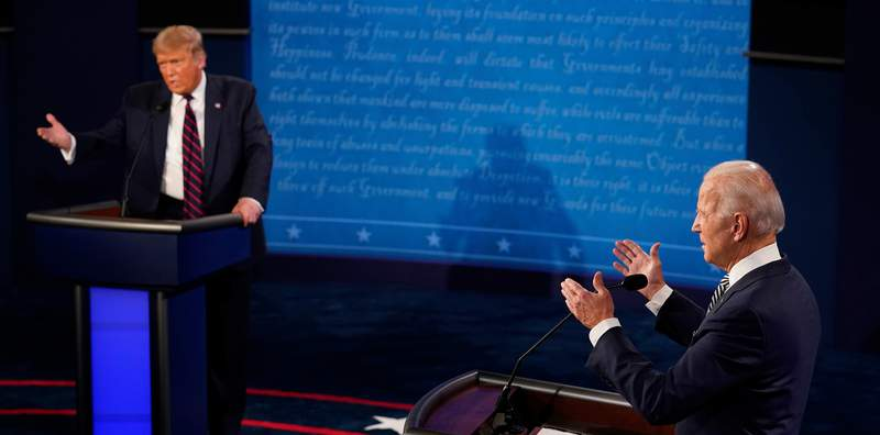President Donald Trump and Democratic presidential candidate former Vice President Joe Biden exchange points during the first presidential debate Tuesday at Case Western University and Cleveland Clinic, in Cleveland, Ohio.