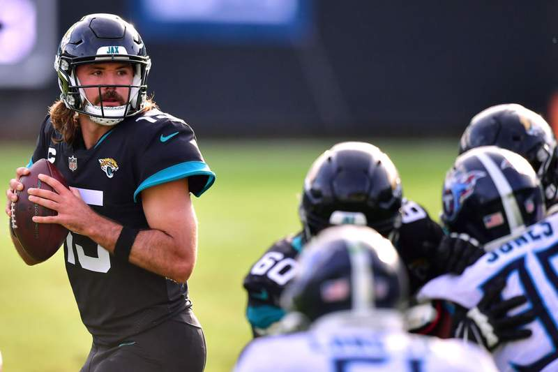 Gardner Minshew of the Jacksonville Jaguars looks to pass against the Tennessee Titans at TIAA Bank Field on December 13, 2020 in Jacksonville, Florida. (Photo by Julio Aguilar/Getty Images)