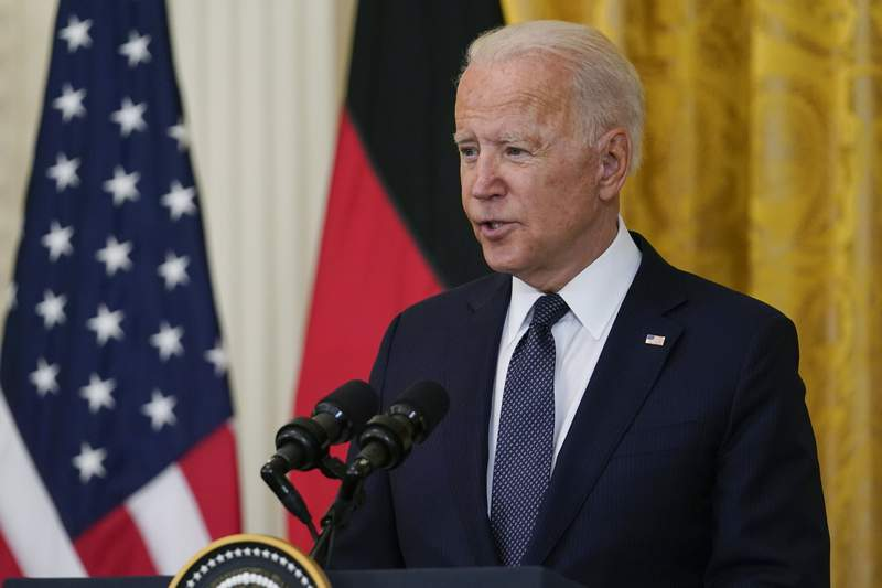 President Joe Biden speaks during. News conference with German Chancellor Angela Merkel in the East Room of the White House in Washington, Thursday, July 15, 2021. (AP Photo/Susan Walsh)