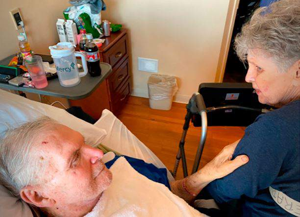 In this November 2019 photo provided by Sue Wagener shows Jack and Harriet Morrison. The couple who had been together for nearly 65 years have died on the same day at a St. Louis area nursing home. The Morrison's beds were placed next to each other in their final hours, allowing them to hold hands, theSt. Louis Post-Dispatchreports.86 year-old Jack died first. Harriett, who was 83, died later on Jan. 11 2020.(Photo Courtesy Sue Wagener via AP)