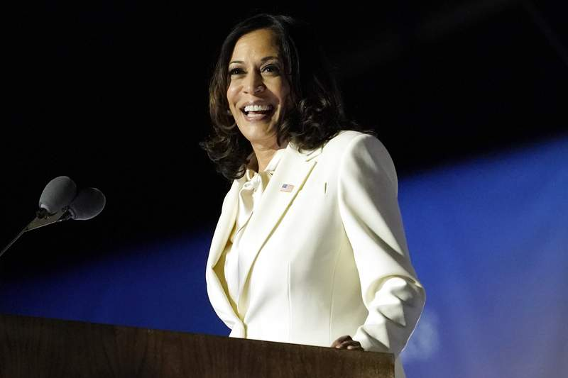 FIL - In this Nov. 7, 2020, file photo Vice President-elect Kamala Harris speaks in Wilmington, Del. Harris will make history Wednesday, Jan. 20, 2021, when she becomes the nations first Black, South Asian and female vice president. (AP Photo/Andrew Harnik, File)