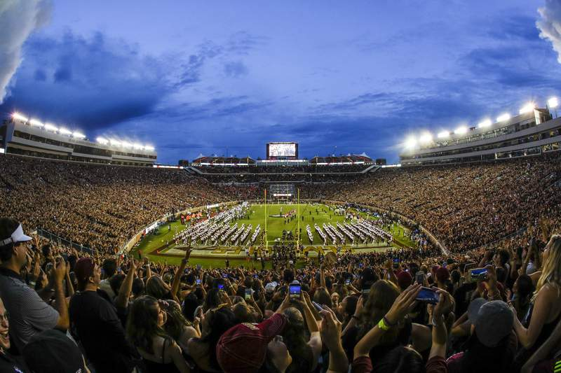 A view of Bobby Bowden Field at Doak Campbell Stadium at FSU in Tallahassee (AP photo)