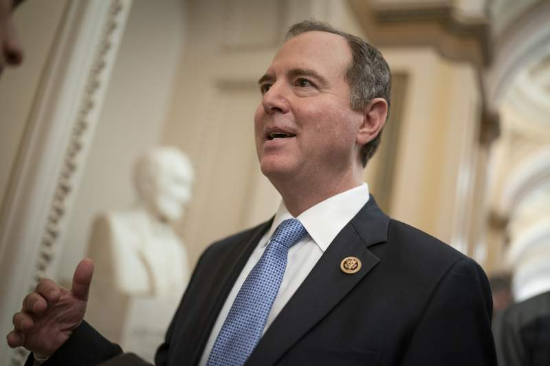 FILE - In this March 3, 2020, file photo House Intelligence Committee Chairman Adam Schiff, D-Calif., talks to reporters on Capitol Hill in Washington. Schiff said Tuesday, Sept. 29, that he will subpoena the Department of Homeland Security after a department whistleblower wasnt allowed access to documents and clearance he needs to testify. (AP Photo/J. Scott Applewhite, File)