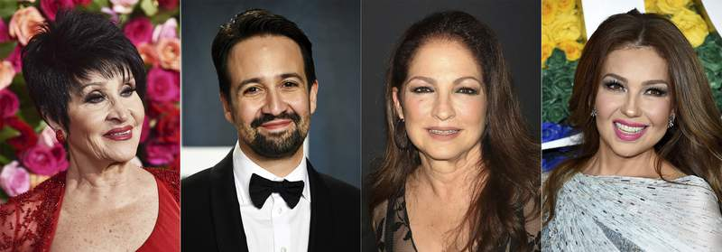This combination photo shows, Chita Rivera, from left, Lin-Manuel Miranda, Gloria Estefan and Thalia, who will participate in a benefit digital concert in October to celebrate Latino culture and achievement in theater. Viva Broadway! Hear Our Voices will be held online Oct. 1 and will be hosted by Andra Burns. (AP Photo)