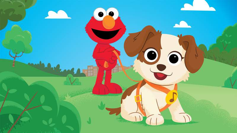This image released by Sesame Workshop shows characters Elmo and Tango in a scene from the new special  Furry Friends Forever: Elmo Gets a Puppy, debuting on HBO Max on Aug. 5. (Sesame Workshop via AP)