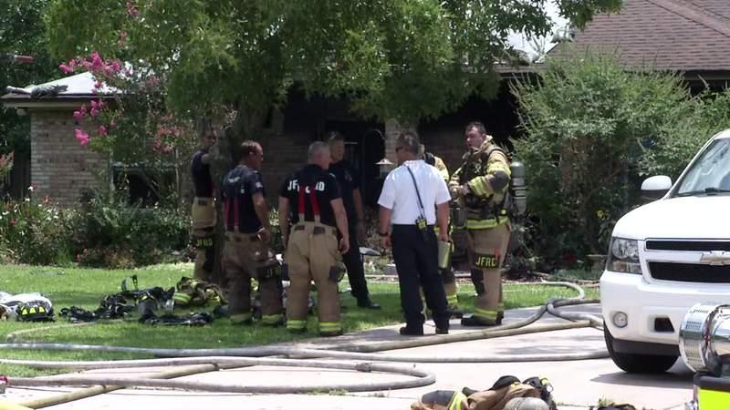Crews on Sunday battled a house fire.