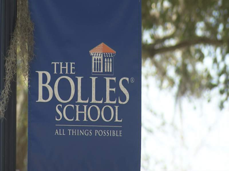 This photos of a banner outside The Bolles School campus on San Jose Blvd was captured on Jan. 29, 2021.