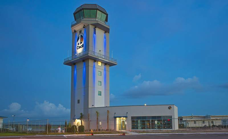 The Jacksonville Aviation Authority's new 126-foot air traffic control tower and Dr. Norman Thagard Mission Control Center.