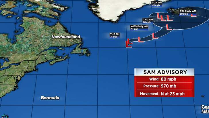 Tropics Forecast Cone at 2:05 Tuesday Afternoon, October 05th