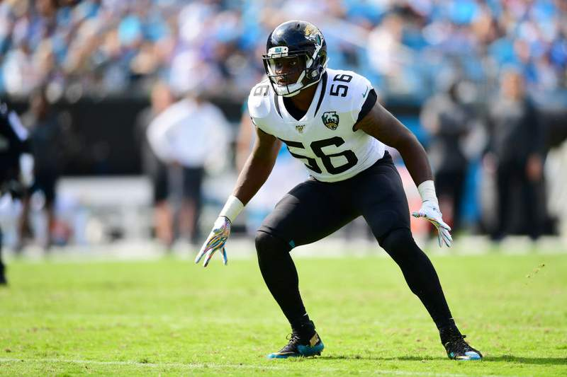 Quincy Williams of the Jacksonville Jaguars during the first half of their game against the Carolina Panthers at Bank of America Stadium on October 06, 2019 in Charlotte, North Carolina. (Photo by Jacob Kupferman/Getty Images)