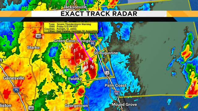 Severe thunderstorm warning for Southern St. Johns County until 5:15 pm mainly along 207 to St. Augustine where high winds and intense rains will be likely through 5:15 pm. This will move off the coast quickly, with much of the rain off the coast before 7 pm.