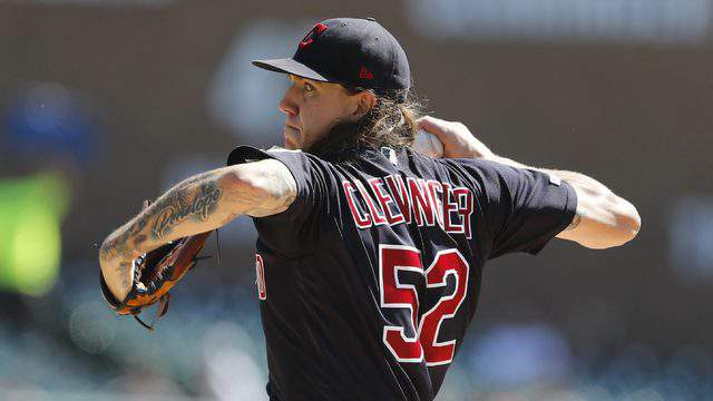 Indians starting pitcher Mike Clevinger throws during the second inning of a baseball game against the Detroit Tigers on Aug. 29. (AP Photo/Carlos Osorio)