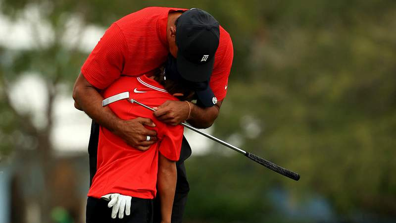 Tiger Woods and son Charlie Woods during the PNC Championship. (Photo by Mike Ehrmann/)