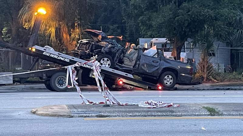 A woman was killed and five other people were injured in a crash on Edgewood Avenue early Sunday morning. The driver of this Chevy Suburban was among the survivors.