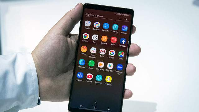 The Samsung Galaxy Note 9 smartphone