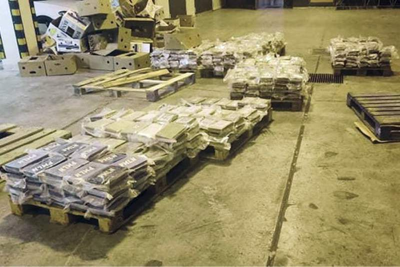 Packets containing cocaine which was hidden in boxes of bananas are seen at Malta Freeport, an international transshipment hub on Maltas southeastern tip, after it was seized by Customs Malta, late Tuesday, June 8, 2021. The customs department in Malta intercepted 740 kilograms (1,630 pounds) of cocaine Tuesday in a record-breaking drug seizure for the Mediterranean island nation, officials said. (Customs Malta via AP)