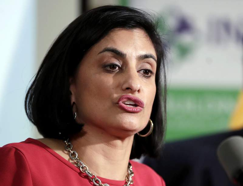 FILE - In this Nov. 29, 2017 file photo, Seema Verma, administrator of the Centers for Medicare and Medicaid Services, speaks during a news conference in Newark, N.J.  Governors of both parties are warning that a little-noticed regulation proposed by the Trump administration could lead to big cuts in Medicaid, restricting their ability to pay for health care for low-income Americans. (AP Photo/Julio Cortez, File)
