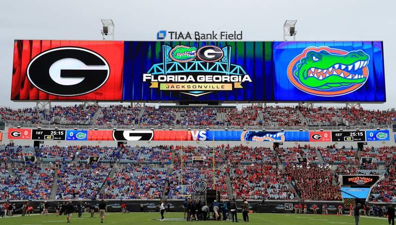 JACKSONVILLE, FLORIDA - NOVEMBER 02: A general view of TIAA Bank Field during a game between the Florida Gators and the Georgia Bulldogs on November 02, 2019 in Jacksonville, Florida. (Photo by Mike Ehrmann/Getty Images)