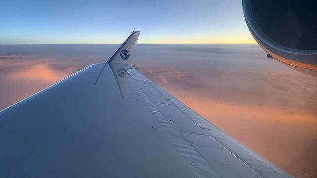 """#NOAA49, NOAA's G-IV also known as """"Gonzo"""", flies at 40 to 45 thousand feet above Tropical Storm Dorian gathering important atmospheric data, feeding models used by NHC forecasters. (Photo: Nick Underwood, NOAA)"""