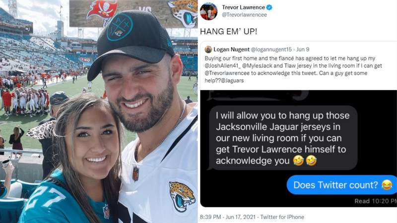 Amber Phommathep made a wager with her fiance Logan Nugent: if you can get Trevor Lawrence to acknowledge you, I'll let you hang up three Jaguars jerseys in our home. Lawrence settled the bet.