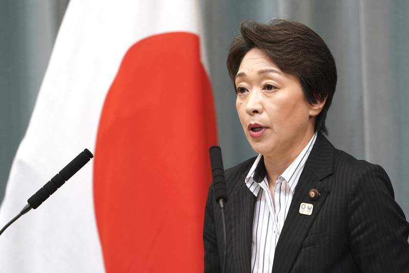 FILE - In this Sept. 11, 2019, file photo, then newly appointed Minister in charge of the Tokyo Olympic and Paralympic Games Seiko Hashimoto speaks during a press conference at the prime minister's official residence in Tokyo. Hashimoto's response to a question in the upper house of Parliament on Tuesday, March 3, 2020, implies the Olympics could be held later in the year and would not have to start on July 24, 2020. Tokyo's Olympics are being threatened by a fast-spreading virus that has shut down most sports events and Olympic-related events in Japan. (AP Photo/Eugene Hoshiko, File)
