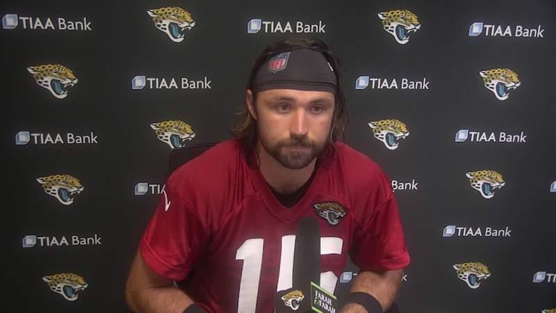 Jaguars quarterback Gardner Minshew II speaks during a virtual news conference Thursday.