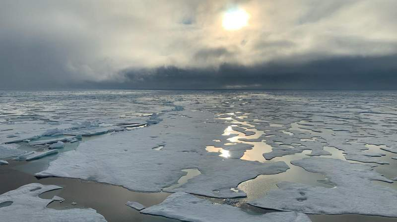 In this handout photo provided by Markus Rex, head of the MOSAiC expedition, a view of the North Pole from RV Polarstern, Wednesday, Aug. 19, 2020. A German icebreaker carrying scientists on a year-long international expedition in the high Arctic has reached the North Pole, after making an unplanned detour because of lighter-than-usual sea ice conditions. Expedition leader Markus Rex said Wednesday the RV Polarstern was able to reach the geographic North Pole because of large openings in sea ice that would normally make shipping in the region above Greenland too difficult. (Markus Rex/Alfred Wegener Institute via AP)