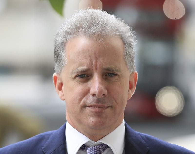 FILE - In this file photo dated July 24, 2020, showing former British intelligence officer Christopher Steele in London.  Britains High Court on Friday Oct. 30, 2020, has dismissed a libel claim by Russian Tech entrepreneur Aleksej Gubarev against Christopher Steele, the author of a report on U.S. President Donald Trumps alleged links to Russia.  (Aaron Chown/PA FILE via AP)