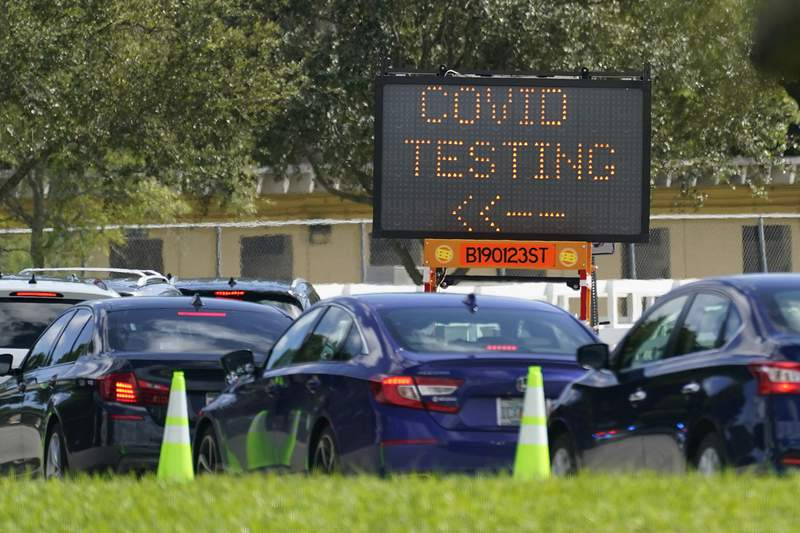 FILE - Cars line up at a COVID-19 testing site at Tropical Park, Saturday, Nov. 14, 2020, in Miami. (AP Photo/Wilfredo Lee)