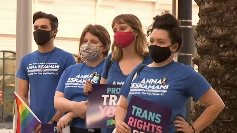 Activists rally in support of transgender youth in response to Florida transgender athlete law