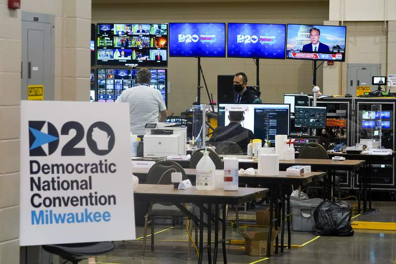 The control room for the Democratic National Convention is seen before the start of the convention Monday, Aug. 17, 2020, in Milwaukee. (AP Photo/Morry Gash)