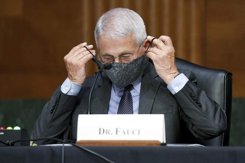FILE - Dr. Anthony Fauci, director of the National Institute of Allergy and Infectious Diseases, puts his face mask back on during a Senate Health, Education, Labor, and Pensions hearing to examine an update from Federal officials on efforts to combat COVID-19, Tuesday, May 11, 2021 on Capitol Hill in Washington. (Jim Lo Scalzo/Pool via AP)