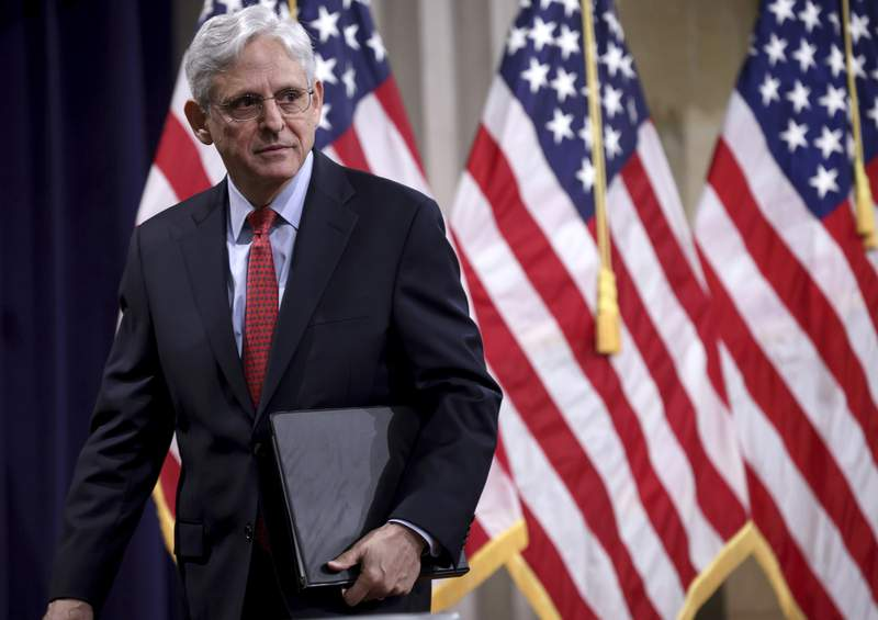 Attorney General Merrick Garland departs after speaking at the Justice Department in Washington, on Tuesday, June 15, 2021. (Win McNamee/Pool via AP)