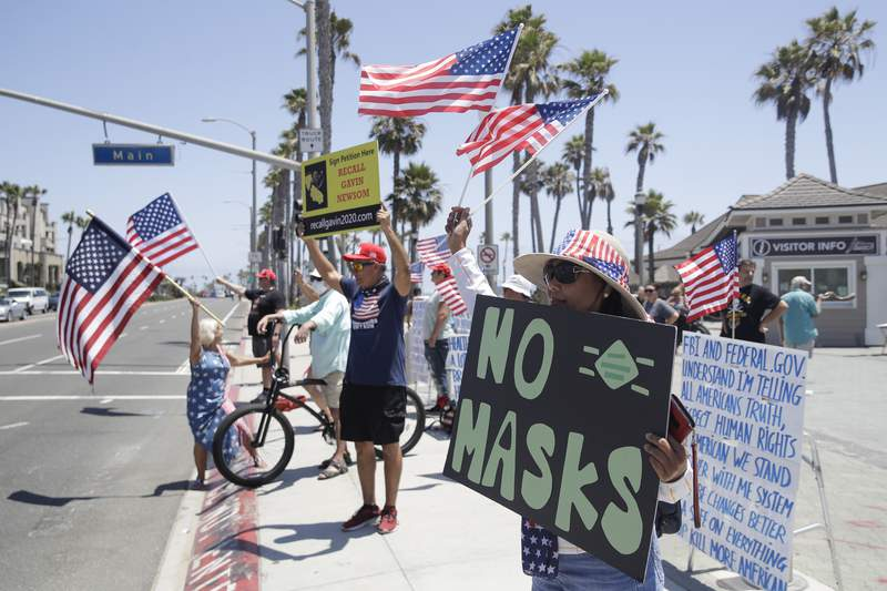 FILE PHOTO. Picture shows demonstrators in Huntington Beach, Calif. hold signs and U.S. flags as they protest the lockdown and wearing masks. Photo taken Saturday, June 27, 2020 (AP Photo/Marcio Jose Sanchez)