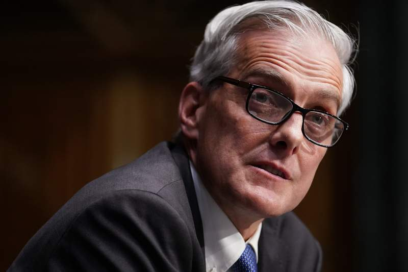 Secretary of Veterans Affairs nominee Denis McDonough speaks during his confirmation proceeding  earlier  the Senate Committee connected  Veterans' Affairs connected  Capitol Hill, Wednesday, Jan. 27, 2021, successful  Washington. (Sarah Silbiger/Pool via AP)