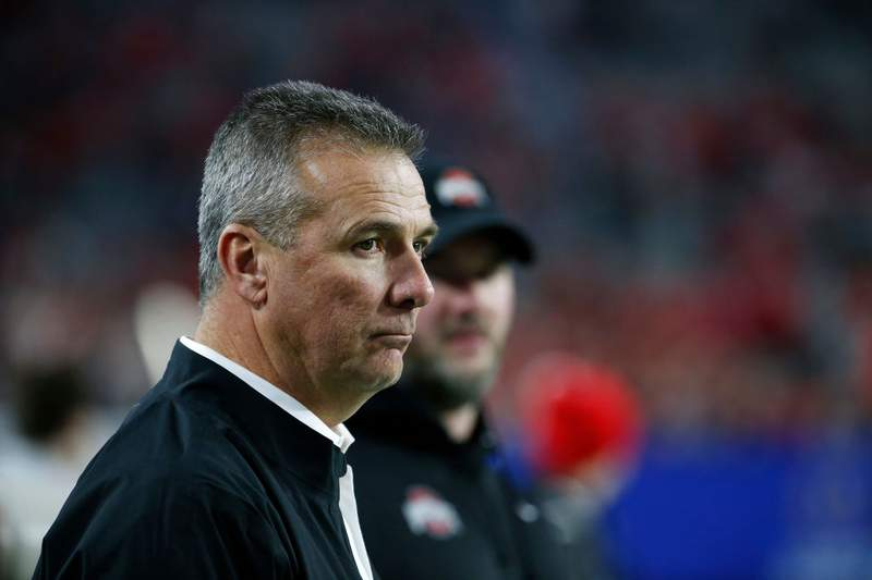 Former Ohio State Buckeyes head coach Urban Meyer looks on during the College Football Playoff Semifinal between the Ohio State Buckeyes and the Clemson Tigers at the PlayStation Fiesta Bowl at State Farm Stadium on December 28, 2019 in Glendale, Arizona. (Photo by Ralph Freso/Getty Images)