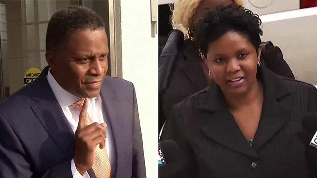 Reggie Brown and Katrina Brown enter U.S. District Courthouse in Jacksonville.