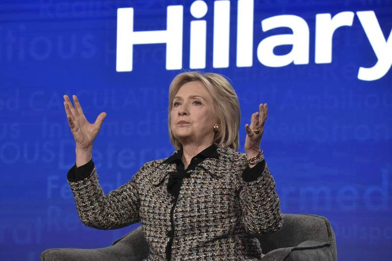 """Hillary Clinton participates in the Hulu """"Hillary"""" panel during the Winter 2020 Television Critics Association Press Tour, on Friday, Jan. 17, 2020, in Pasadena, Calif. (Photo by Richard Shotwell/Invision/AP)"""