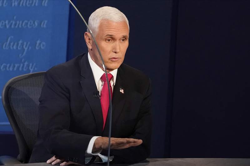 Vice President Mike Pence answers a question during the vice presidential debate Wednesday, Oct. 7, 2020, at Kingsbury Hall on the campus of the University of Utah in Salt Lake City. (AP Photo/Morry Gash, Pool)