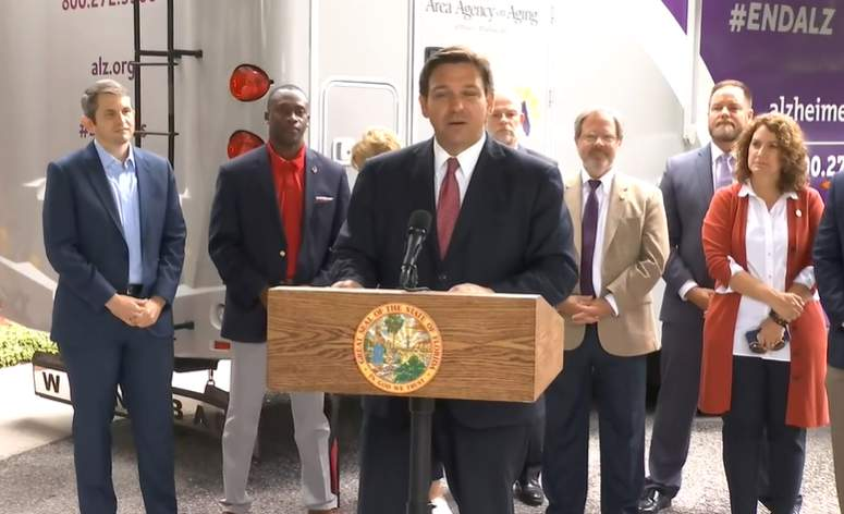 Gov. Ron DeSantis during a news conference at a Jacksonville assisted living facility.