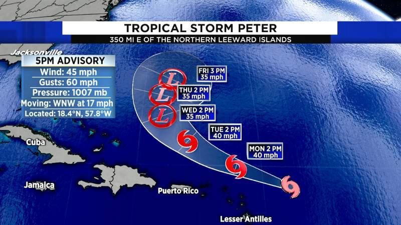NHC Tropical Storm Peter Track