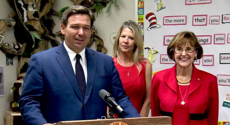 Gov. Ron DeSantis during a news conference at Childcare Resources of Indian River in Vero Beach.