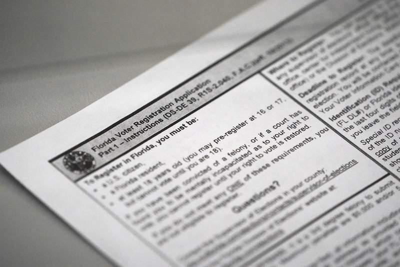 A Florida voter registration application (AP Photo/Wilfredo Lee)