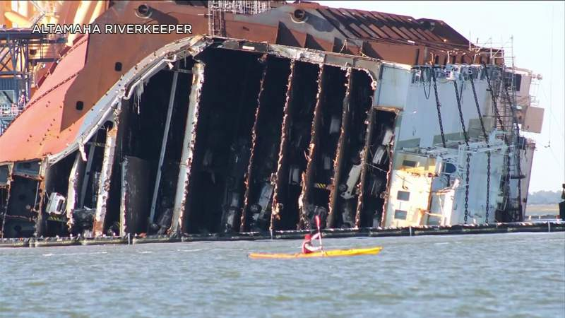 Part of Golden Ray heads to Louisiana as crews start cutting stern of ship