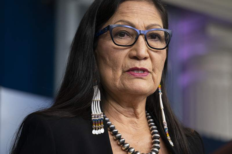 FILE - In this April 23, 2021, file photo, Interior Secretary Deb Haaland speaks during a news briefing at the White House in Washington. Haaland approved a new constitution for the Cherokee Nation on Wednesday, May 12, 2021 that ensures citizenship for descendants of Black people once enslaved by tribal citizens, known as Freedmen. (AP Photo/Evan Vucci, File)